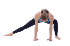 Stretching of adductors. Stretching pose executed with a professional trainer Royalty Free Stock Image