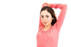 Stretching arms and shoulders Royalty Free Stock Photography
