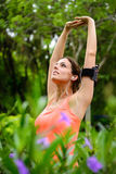 Stretching arms workout for relax and exercising Stock Images