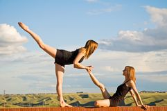 Stretching Ballerinas Royalty Free Stock Photography
