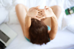 Stretching in bed Royalty Free Stock Photography