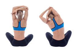 Stretching of big dorsal. Stretching pose executed with a professional trainer royalty free stock photo