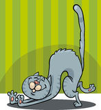 Stretching cat cartoon Stock Photo