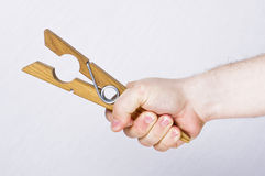 Stretching clothes pin Stock Image