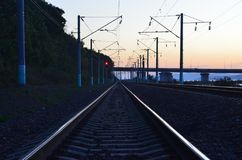 Stretching into the distance rails railroad Stock Image