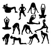 Stretching And Exercise Activity Silhouettes Stock Photo