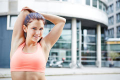 Stretching exercise in the city royalty free stock photography