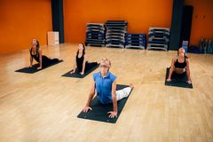 Stretching exercise, female yoga group in action. Training with instructor, workout in gym. Yogi indoor Royalty Free Stock Photos