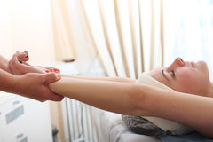 Stretching exercise in spa salon Stock Image