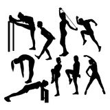 Stretching And Exercise Sport Silhouettes Royalty Free Stock Photography