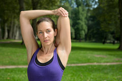 Stretching exercise before sports or running Royalty Free Stock Photos