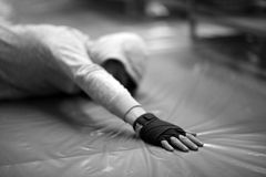 Stretching exercises before the fight Royalty Free Stock Photo