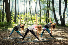 Stretching exercises in nature Stock Photo