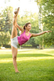 Stretching Exercises In The Park Stock Image