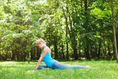 Stretching exercises in the park. Sports woman doing yoga on outdoor. Stretching exercises in the park Royalty Free Stock Photos