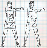 Stretching exercises sketch illustration Royalty Free Stock Photo