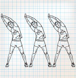 Stretching exercises sketch illustration Stock Photo
