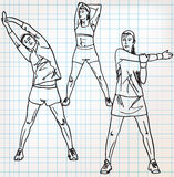 Stretching exercises sketch illustration Royalty Free Stock Image