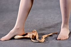 Stretching Feet in Pointe Shoes royalty free stock photos
