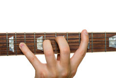 Stretching fingers playing guitar Royalty Free Stock Photos