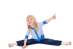 Stretching girl show ok sign Royalty Free Stock Image