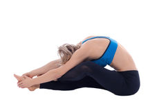 Stretching of glutes, ischio and internal rotators stock photos