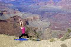 Stretching at Grand Canyon Royalty Free Stock Photos