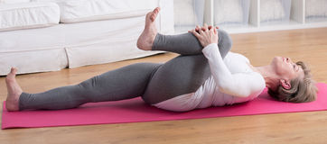 Stretching after gymnastic Stock Image