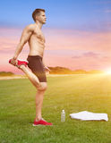 Stretching out in beautiful scenery Royalty Free Stock Images