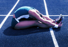 Stretching for the race Royalty Free Stock Photography