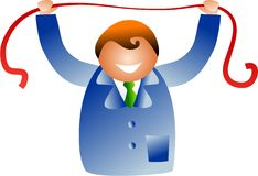 Stretching red tape. Business man stretching red tape concept - icon people series Royalty Free Stock Photos