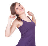 Stretching smiling girl Stock Image