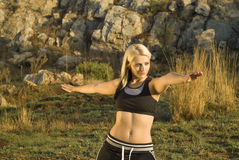 Stretching Tai Chi woman in park Stock Photos