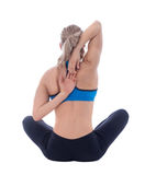 Stretching of triceps. Stretching pose executed with a professional trainer Royalty Free Stock Images