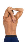 Stretching Triceps Rear View Royalty Free Stock Photos