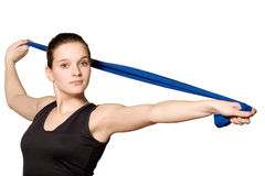 Stretching With A Resistance Band Royalty Free Stock Photos