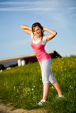 Stretching woman Royalty Free Stock Photography