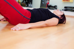Stretching woman Royalty Free Stock Images