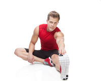 Stretching after workout Stock Image