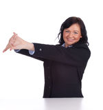Stretching young businesswoman Royalty Free Stock Photos