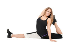 Stretchy woman royalty free stock photography