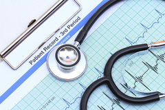 Strethoscope on heartbeat graph Royalty Free Stock Image