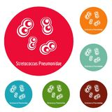 Stretococcus pneumonidae icons circle set vector. Isolated on white background Royalty Free Stock Photography