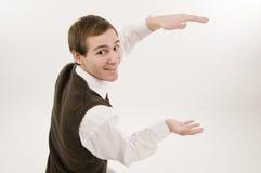 Stretta dell'uomo la casella invisibile Fotografia Stock