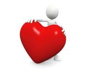 Stretta dell'uomo un grande cuore Immagine Stock Libera da Diritti