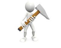 Stretta dell'uomo un grande martello illustrazione vettoriale