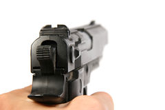 Stretta della mano la pistola Fotografia Stock Libera da Diritti