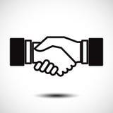 Stretta di mano di affari/icona piana accordo di contratto per i apps ed i siti Web Fotografie Stock Libere da Diritti
