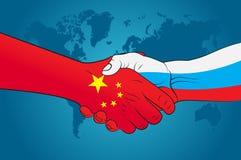 Stretta di mano Cina e Russia Fotografie Stock