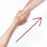 Stretta di mano con la freccia Fotografia Stock Libera da Diritti